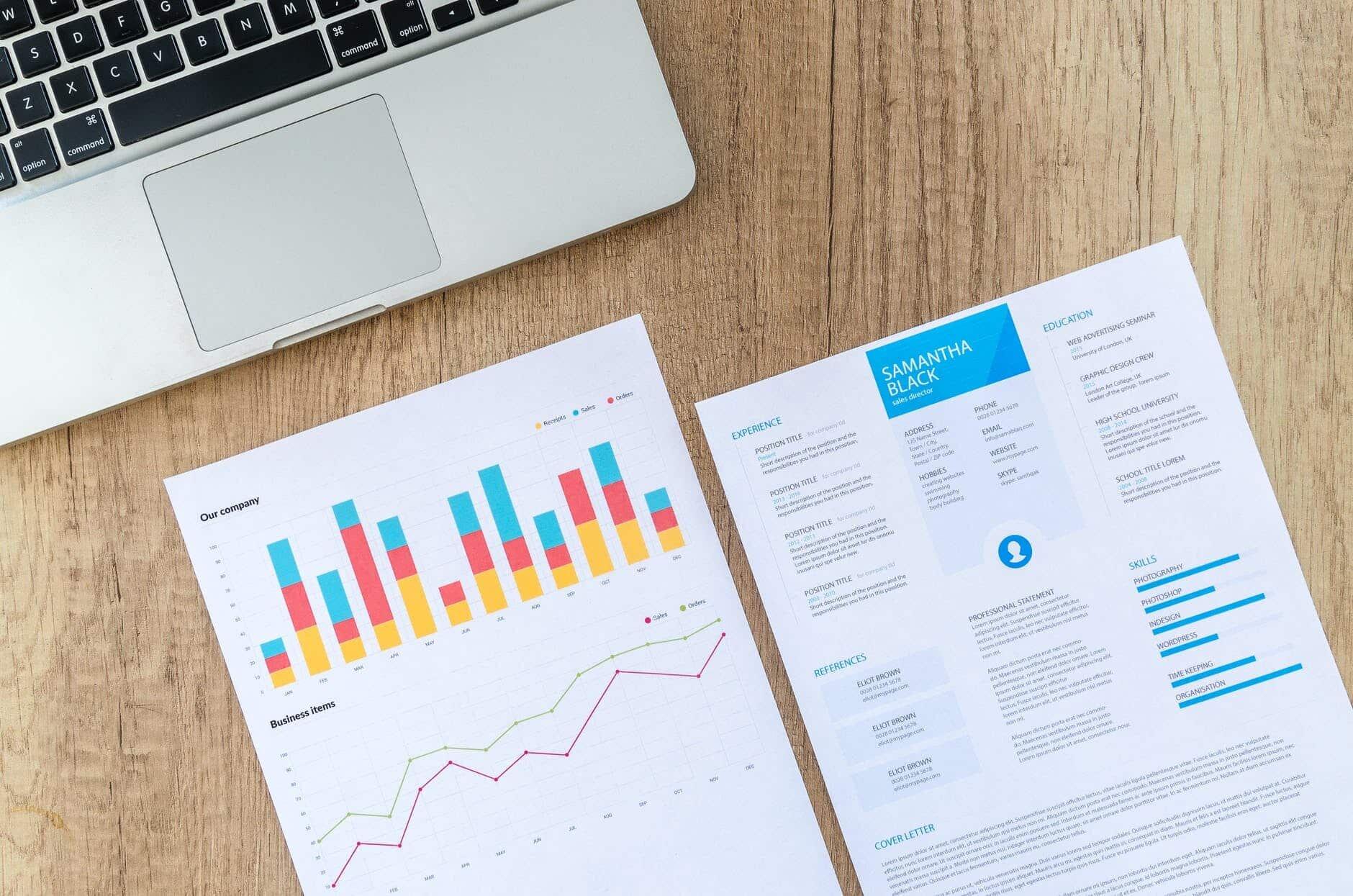 graphs job laptop papers