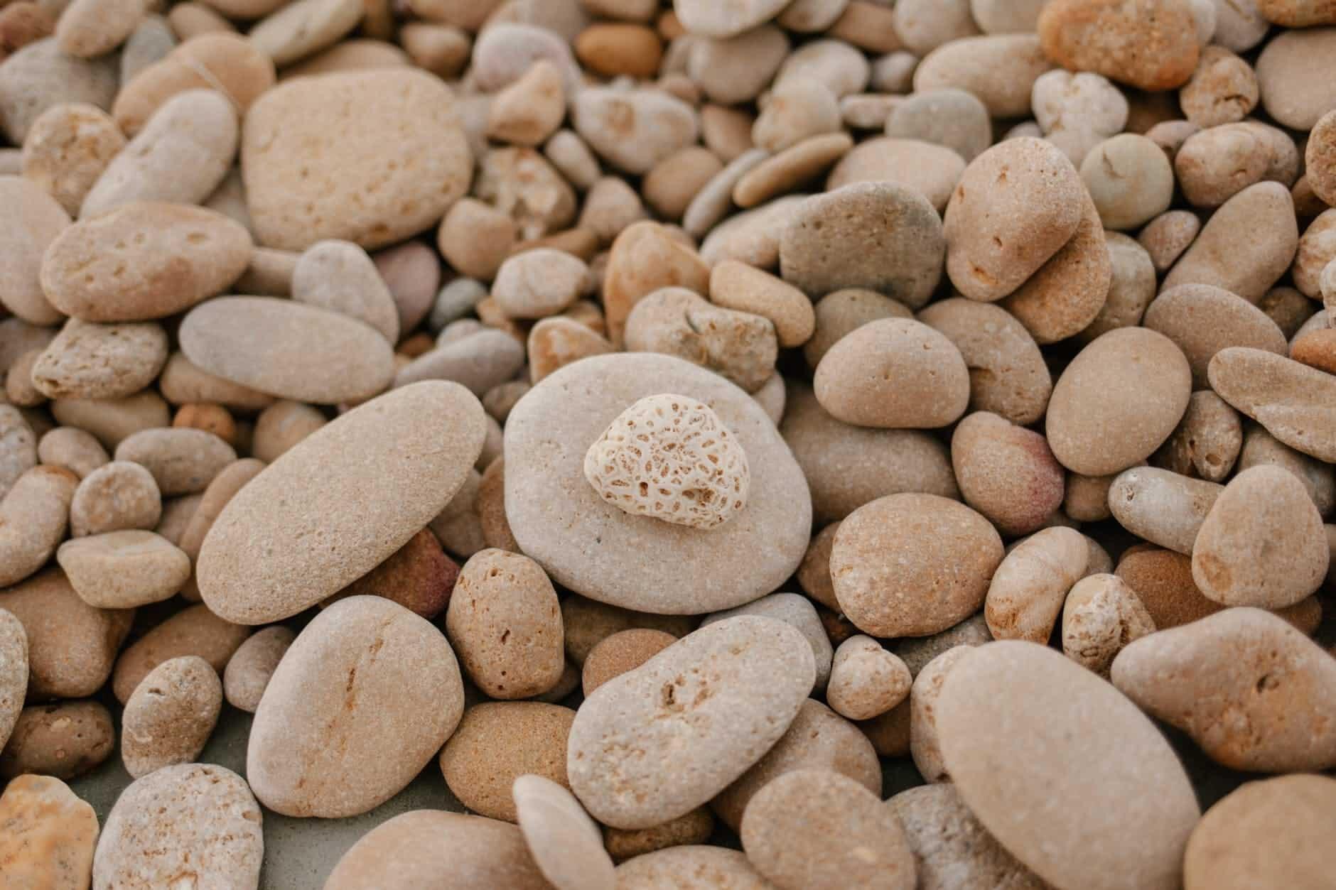rough gray stones on beach in daylight